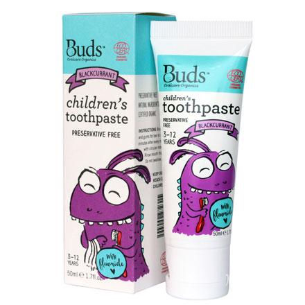 【悅兒園婦幼生活館】Buds 芽芽有機 兒童含氟牙膏-黑加侖50ml (3-12歲)