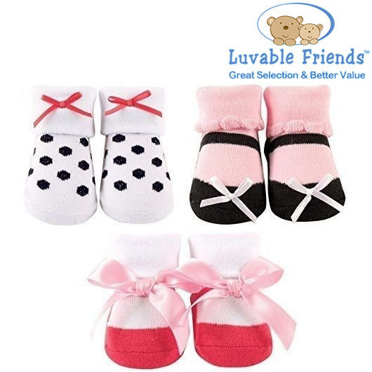 美國 Hudson Baby/Luvable Friends 嬰幼用品 寶寶造型襪 0-9M (3件組) - 俏皮點點