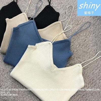 【V0548】shiny藍格子-純色簡約.單色細肩低胸針織百搭背心