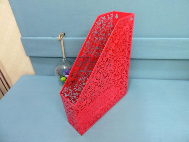 ◤彩虹森林◥鐵製玫瑰雕花檔案書架《桃紅色》資料架 L型資料架 文件架 置物架 雜誌架