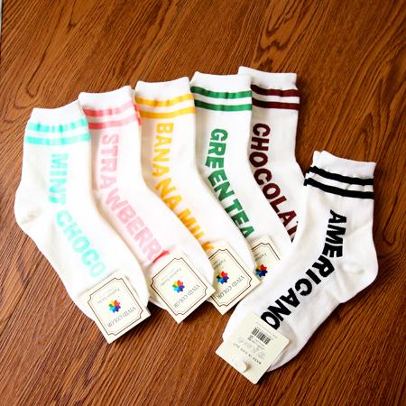 韓國 英文口味造型足球襪 食物 甜點 短襪 襪子 中筒襪 造型襪 流行襪【N201454】