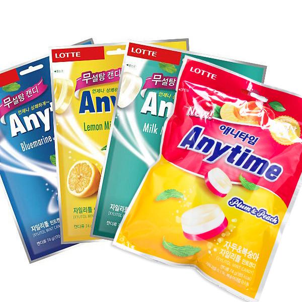 韓國 LOTTE Anytime 三層薄荷糖 74g 汽水/牛奶/蜜李/萊姆