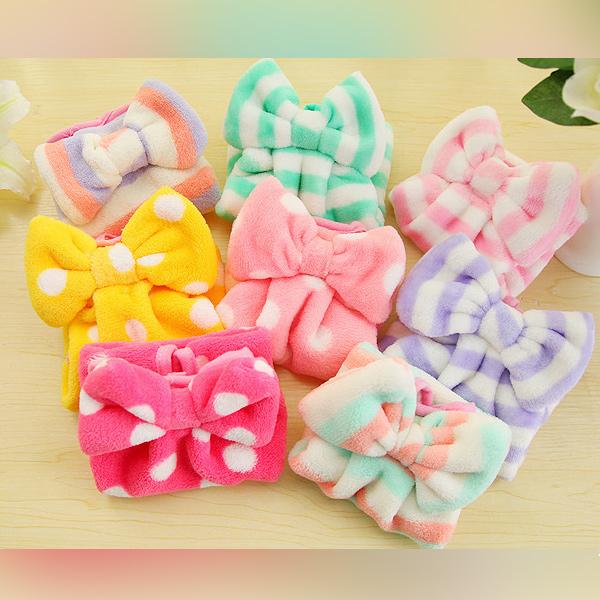 生活小物 可愛珊瑚絨蝴蝶結點點條紋 吊掛小方巾 廚房浴室擦手巾 1入
