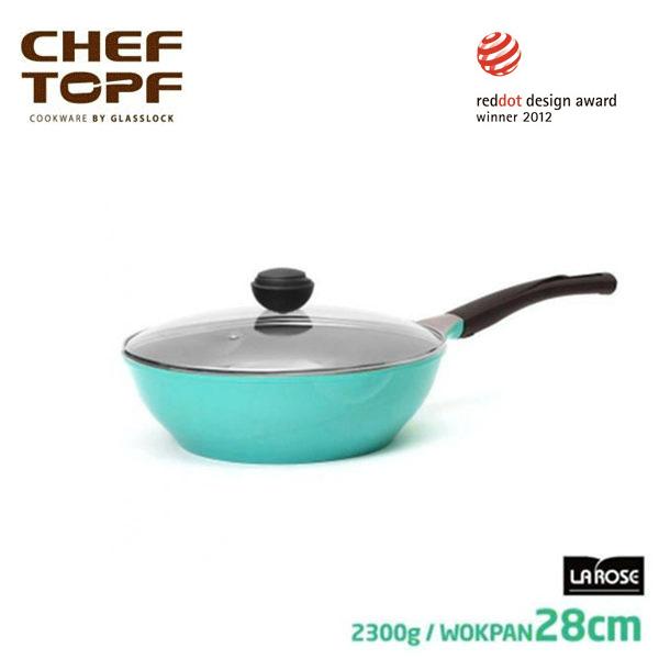 韓國 CHEF TOPF La Rose玫瑰鍋 炒鍋+透明蓋28cm不沾鍋