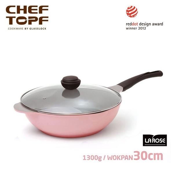 韓國 CHEF TOPF La Rose玫瑰鍋 炒鍋+透明蓋30cm不沾鍋