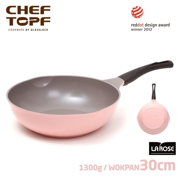 韓國 CHEF TOPF La Rose玫瑰鍋 炒鍋(無蓋) 30cm 不沾鍋