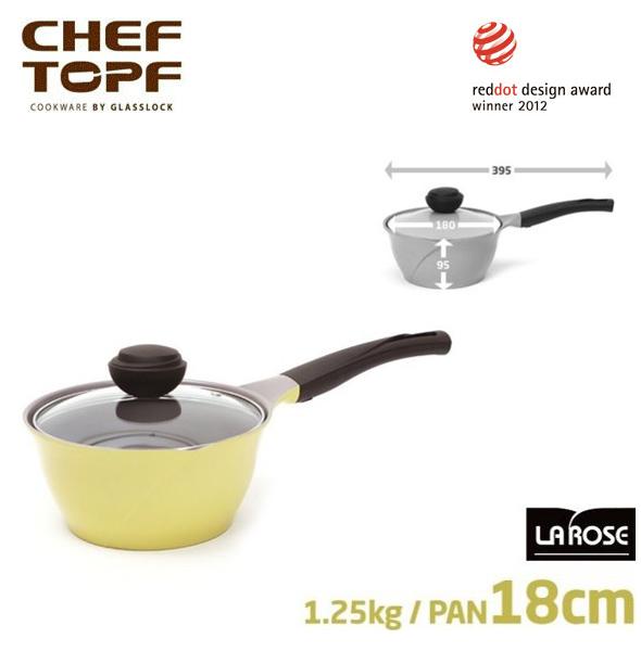 韓國 CHEF TOPF La Rose玫瑰鍋 單柄湯鍋(透明蓋) 18cm 不沾鍋《加送玫瑰鍋專用隔熱套*1個 》