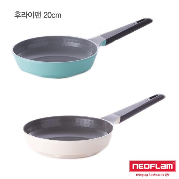 韓國 NEOFLAM Carat系列 20cm陶瓷不沾鑽石平底鍋(薄荷綠/象牙白)