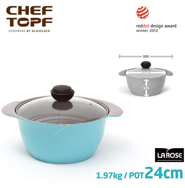 韓國 CHEF TOPF La Rose玫瑰鍋 雙柄湯鍋(透明蓋) 24cm
