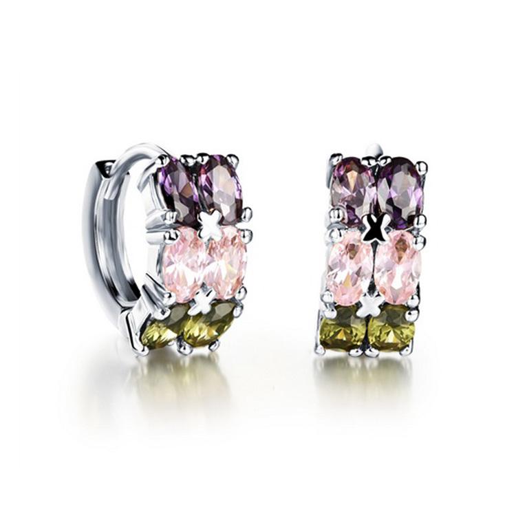 最新款經典時尚精美鑲崁皓石造型女款鍍白金鍍18K金耳環耳飾