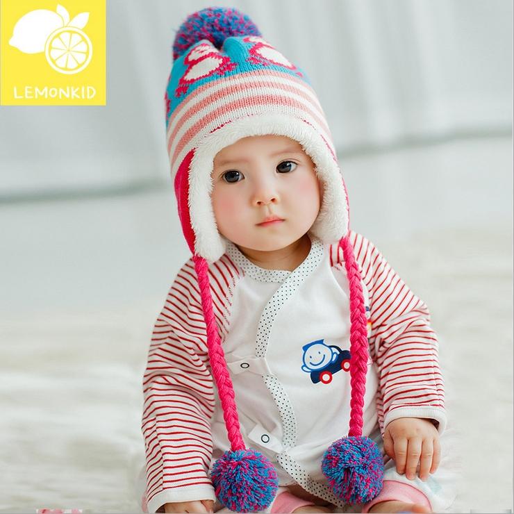 Lemonkid◆冬季可愛小企鵝編織繩毛球保暖兒童冬帽護耳帽-湖藍