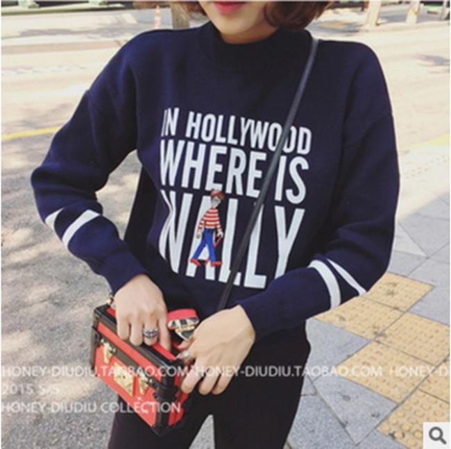 50%OFF【G017419C】新品寬鬆顯瘦印花套頭衛衣韓國學院風長袖加絨上衣打底衫