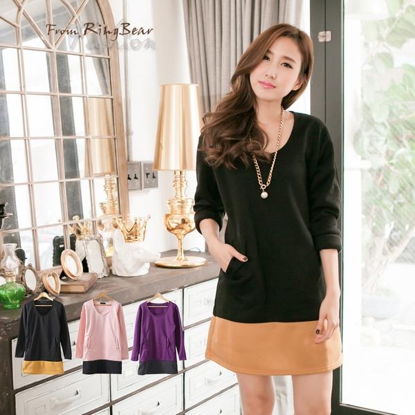洋裝--甜美滿點-下擺撞色斜口袋內刷毛長上衣/洋裝(黑.粉.紫M-2L)-A150眼圈熊中大尺碼