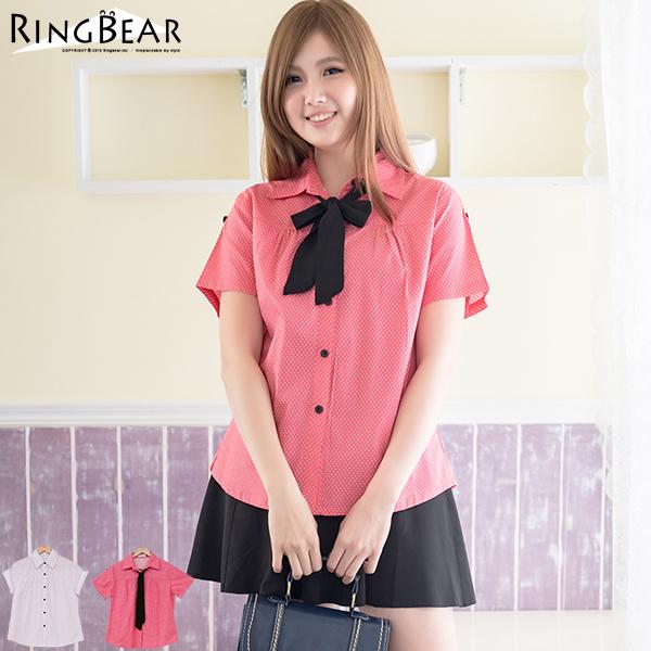 襯衫--甜美氛圍滿版點點可反摺短袖襯衫附領巾(白.粉M-2L)-H105眼圈熊中大尺碼