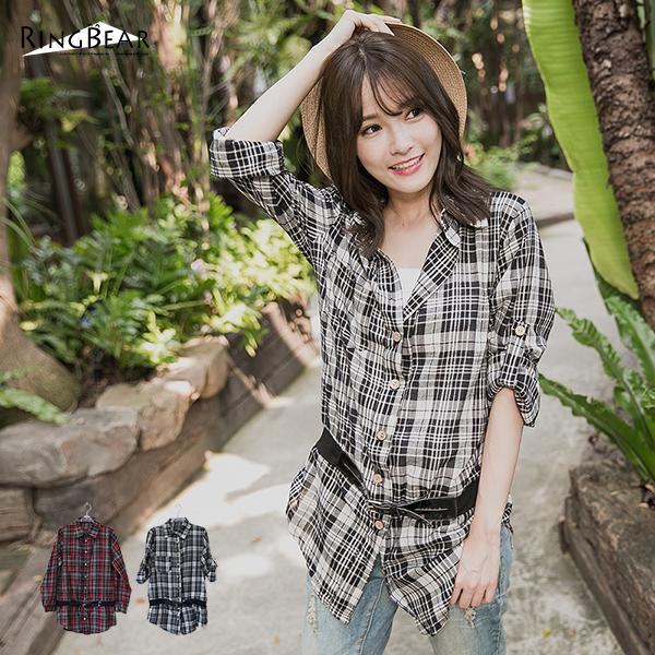 長版襯衫--帥氣女人木扣假腰帶袖口反摺格紋長版襯衫(黑.紅M-2L)-I25眼圈熊中大尺碼