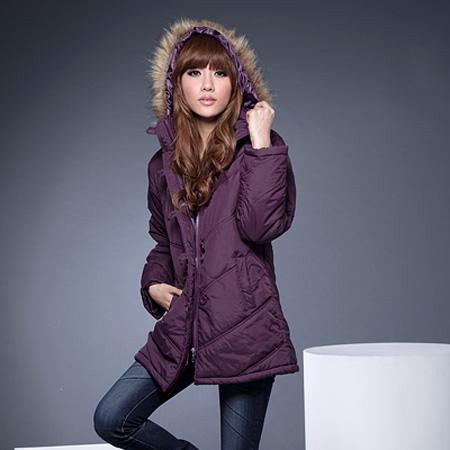 鋪綿外套--風格獨具的百搭單品-霧面毛邊連帽斜紋鋪綿長大衣(黑.紫)-J71眼圈熊中大尺碼