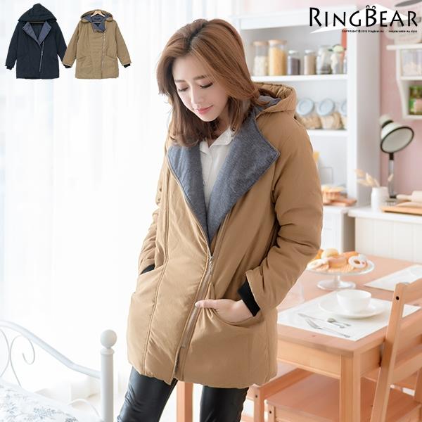 鋪棉外套--簡單保暖禦寒羅紋袖口斜拉鍊暗扣雙口袋連帽鋪棉外套(黑.卡其2L-4L)-J302眼圈熊中大尺碼