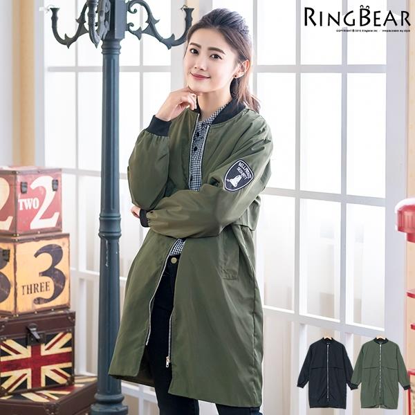 防風外套--美式徽章刺繡貼布立領後開岔雙口袋飛行員長版外套(黑.綠XL-3L)-J309眼圈熊中大尺碼
