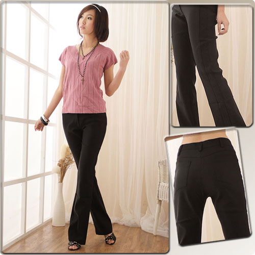 西裝褲--輕鬆纖腿韓版中央車線休閒氣質中腰小喇叭西裝長褲(S-5L)-K06眼圈熊中大尺碼