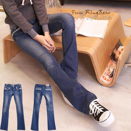 牛仔褲--打造完美細身姿態-袋口小碎花接布滾邊設計刷色中低腰小喇叭牛仔褲(S-7L)-N62眼圈熊中大尺碼