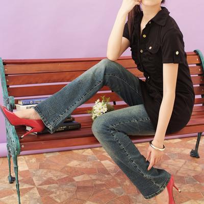 牛仔褲--想擁有修長的美腿嗎?暢銷上千條-懷舊潑水痕中低腰小喇叭牛仔褲(S-6L)-N86眼圈熊中大尺碼