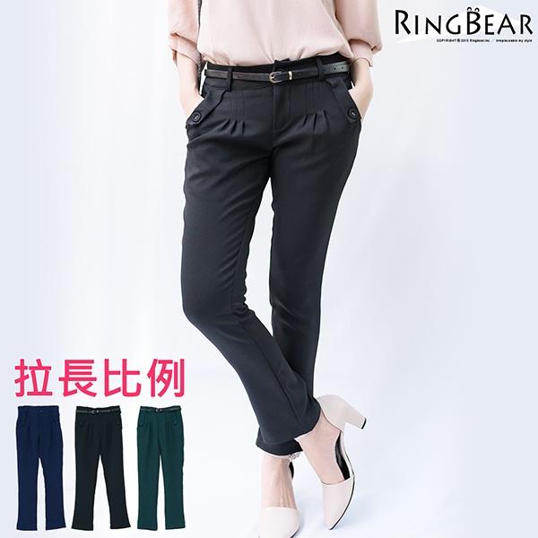 中大尺碼--獨顯高雅英倫風格前袋蓋雙口袋附腰帶打摺休閒老爺褲(黑.藍.綠XL-5L)-P121眼圈熊中大尺碼