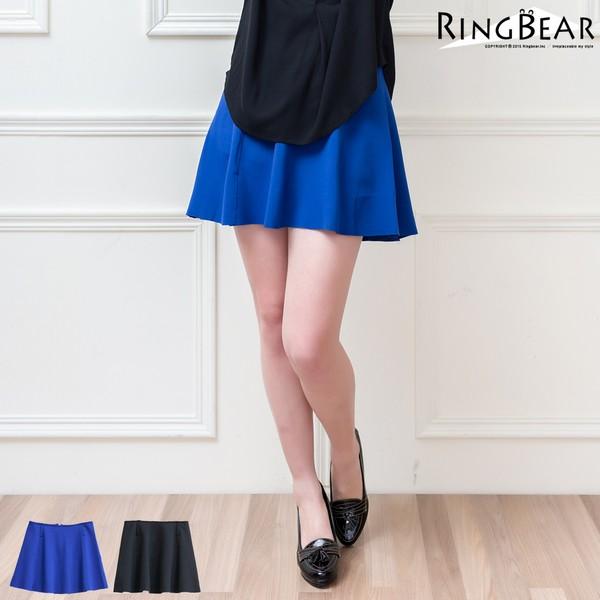 短裙--個性百搭太空棉修身素面波浪高腰小短裙(黑.藍XL-4L)-Q62眼圈熊中大尺碼