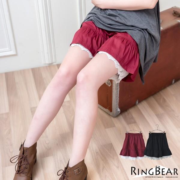 中大尺碼--高雅氣質鬆緊褲頭花苞下擺蕾絲百搭襯褲(黑.紅XL-4L)-R169眼圈熊中大尺碼