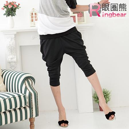 七分褲--視覺延伸寬版素面哈倫七分褲(黑.灰M-XL)-S21眼圈熊中大尺碼