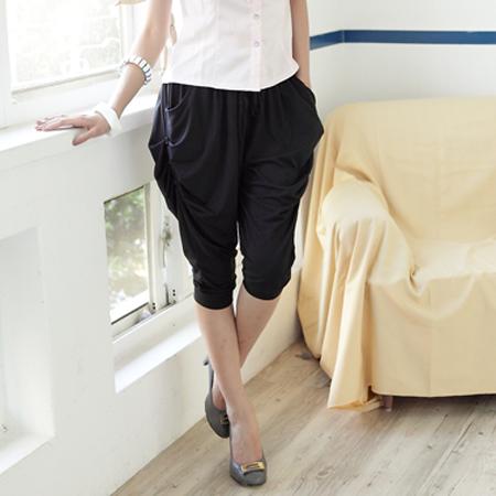 飛鼠褲--萬種風貌垂墜感側邊三釦大口袋飛鼠褲(黑.灰M-2L)-S25眼圈熊中大尺碼
