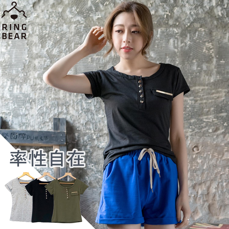 軍裝-中性魅力排釦假口袋修飾素面短袖上衣(黑.灰.綠S-2L)-U337眼圈熊中大尺碼