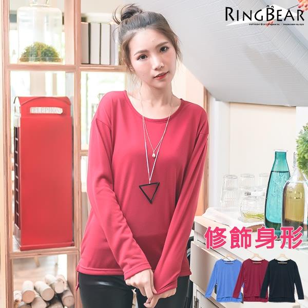 長袖上衣--輕鬆隨興素面側開岔前短後長圓領長袖上衣(黑.紅.藍XL-5L)-X200眼圈熊中大尺碼