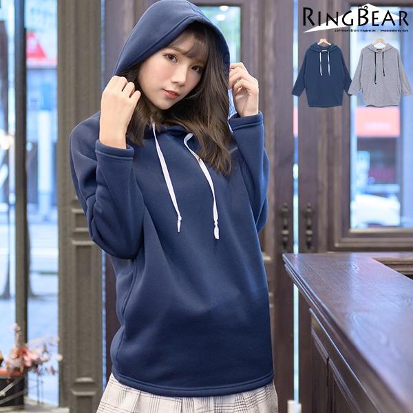 連帽--簡約暖膚寬鬆連袖雙側圓弧口袋素面長袖連帽內刷毛長版上衣(灰.藍XL-4L)-X209眼圈熊中大尺碼