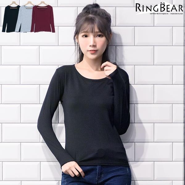 內搭衣--零著暖感親膚舒適素面圓領貼身收腰長袖內搭衣(黑.灰.紅XL-3L)-X228眼圈熊中大尺碼