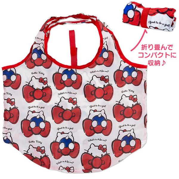 【真愛日本】16042700008環保購物袋-KT藏臉多結紅    三麗鷗 Hello Kitty 凱蒂貓  側背包 包包 購物袋