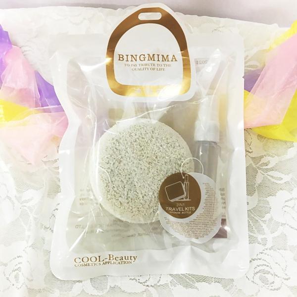 BINGMIMA 冰密碼》巨無霸美顏附噴瓶洗臉撲(1入) -8031/小資時尚/洗臉海綿