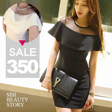 SISI【D6006】優雅名媛透視網紗拼接飄逸荷葉襬修身顯瘦包臀連身裙洋裝