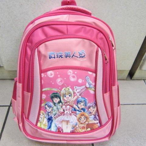 ~雪黛屋~真珠美人魚透氣背墊書包 可放A4資夾正版授權公司品加強護脊透氣PI2D32粉紅