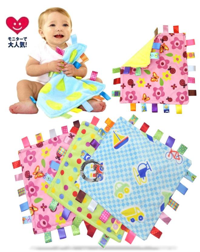 童衣圓【N033】N33安撫巾 彩色 標籤 綿絨 軟絨 天鵝絨 抓握布 玩具 新生兒必備~刺激視覺/觸感