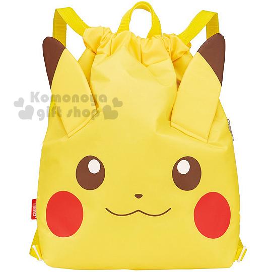 〔小禮堂〕神奇寶貝Pokémon 皮卡丘 束口保冷後背包《黃.大臉.立體耳朵》可提