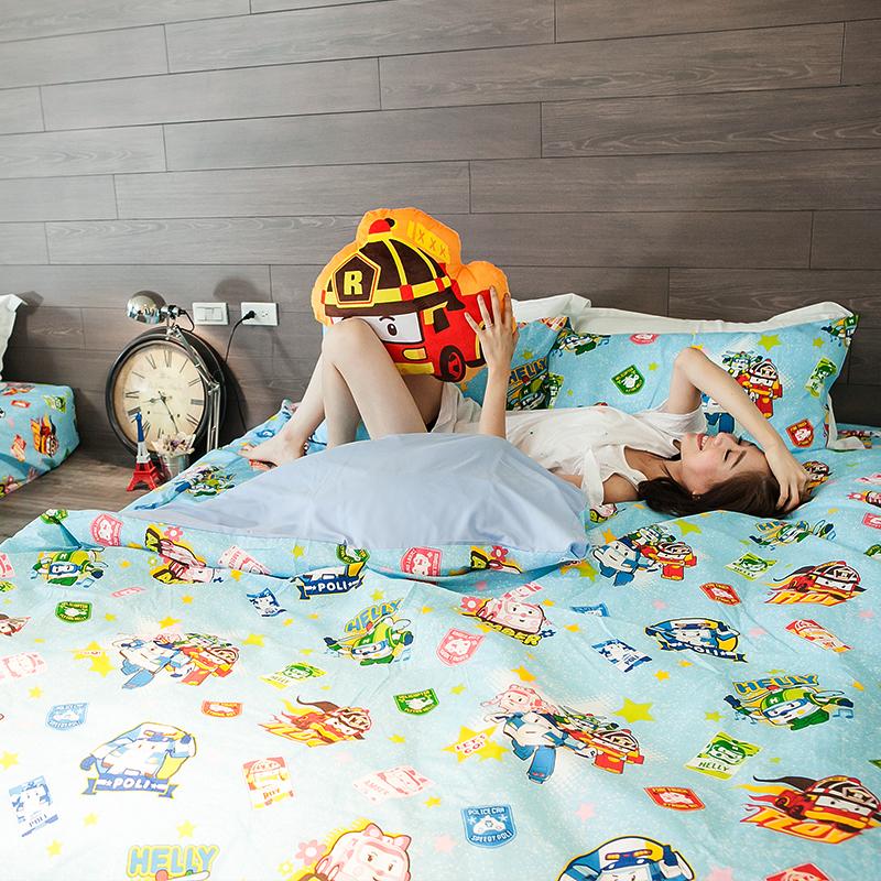 床包被套組 / 雙人【波力救援小英雄-藍】含兩件枕套,磨毛多工法處理,超人氣卡通,戀家小舖台灣製