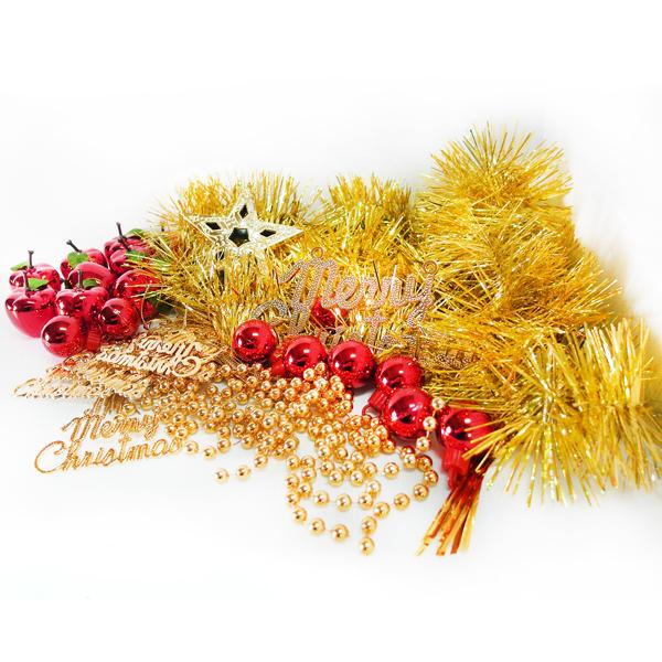 『冬季生活限定』聖誕裝飾配件包組合~紅蘋果金色系 (2尺(60cm)樹適用)(不含聖誕樹)(不含燈)