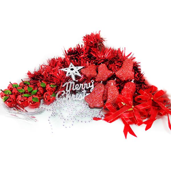 『摩達客冬季生活限定』聖誕裝飾配件包組合~經典純紅色系 (2尺(60cm)樹適用)(不含聖誕樹)(不含燈)