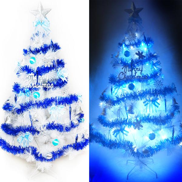 台灣製12呎/12尺 (360cm)特級白色松針葉聖誕樹 (藍銀色系)+100燈LED燈7串(附控制器跳機)YS-WPT012302