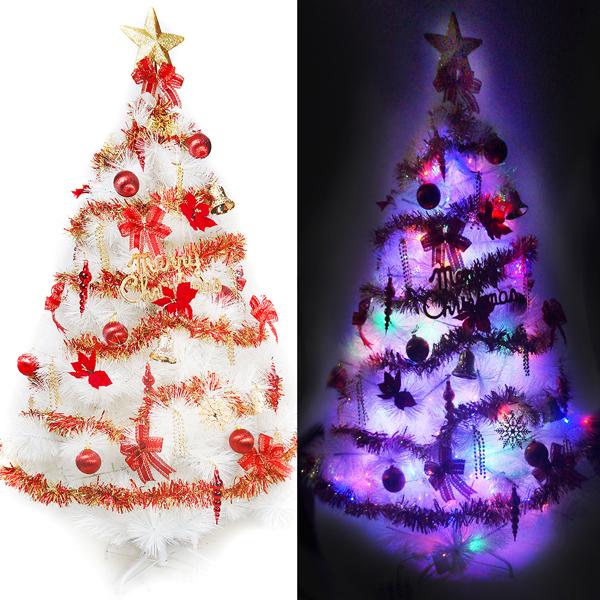 台灣製15尺/15呎(450cm)特級白色松針葉聖誕樹 (紅金色系)+100燈LED燈9串(附控制器跳機)YS-WPT015301