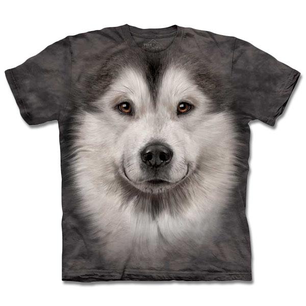 『摩達客』[ 預購 ]美國進口【The Mountain】自然純棉系列 哈士奇雪橇犬臉 T恤