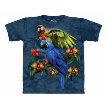 『摩達客』[ 預購 ]美國進口【The Mountain】Classic自然純棉系列  熱帶鸚鵡 藍色設計T恤
