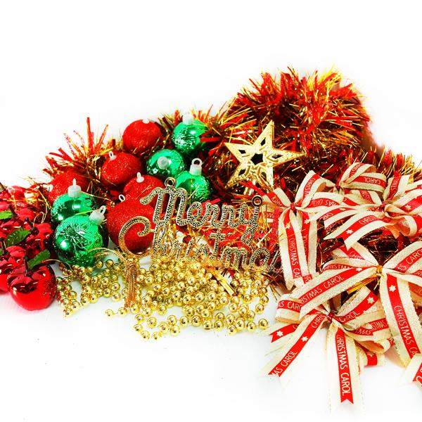 『冬季生活限定』聖誕裝飾配件包組合~紅綠金色系 (2尺(60cm)樹適用)(不含聖誕樹)(不含燈)
