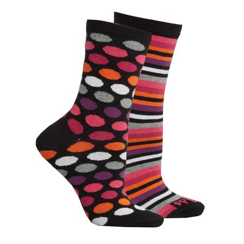 『摩達客』英國進口Pretty Polly 時尚普普風圓點條紋棉襪腳踝襪短襪超值組(一組兩雙不同款)