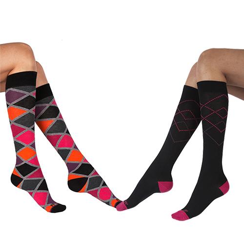 『摩達客』英國進口Pretty Polly 時尚虛線學院風格紋彈性棉襪及膝高筒襪超值組(一組兩雙不同款)